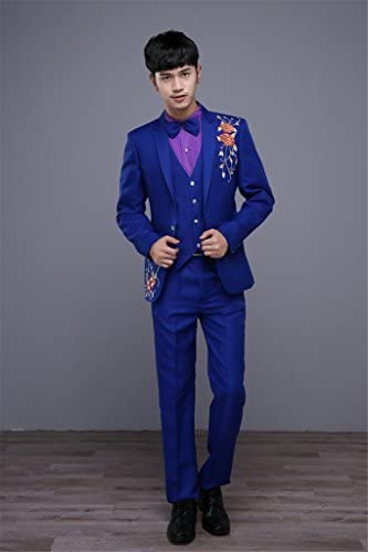 MYS Mens Classic Embroidery Wedding Suit and Pants Set Party Tuxedo Blue