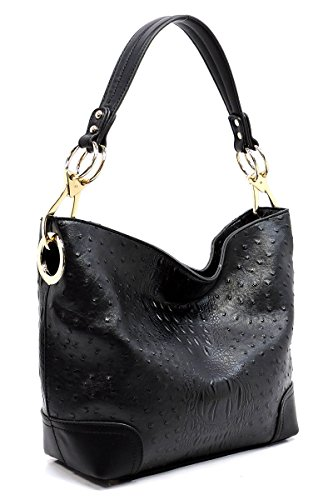 Wallet Shoulder Set Ostrich Classic Elphis Croc Black amp; 1 Bucket Bag Hobo Handbag in Bag 2 t1OwHFqwxn
