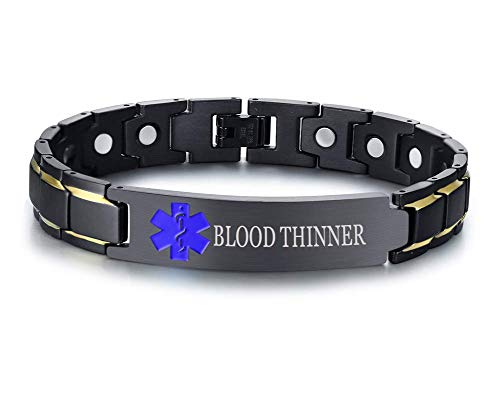 XUANPAI Blood THINNER Brushed Name Plate ID Identity Magnet Therapy Medical Alert ID ()
