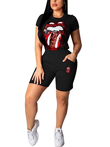 Succi Women's 2 Piece Outfits Sequined Lips Print Tracksuits Round Neck Short Sleeve T-Shirt Top and High Waist Bodycon Short Pants Sweatsuits Black M