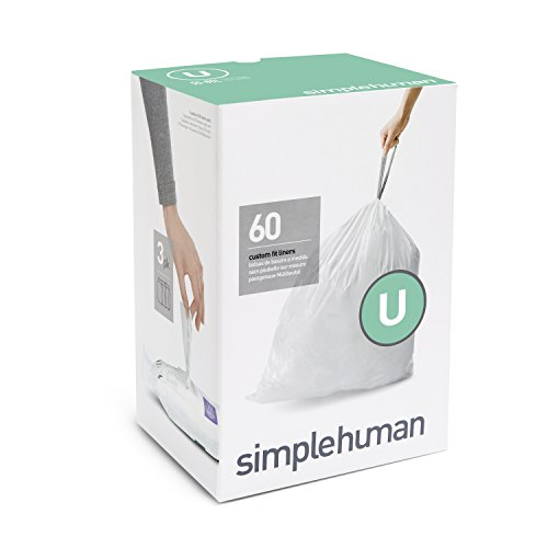 simplehuman Code U Custom Fit Liners, Extra Large, Ultra Strong Trash Bags, 55 Liter / 14.5 Gallon, 3 Refill Packs (60 Count)