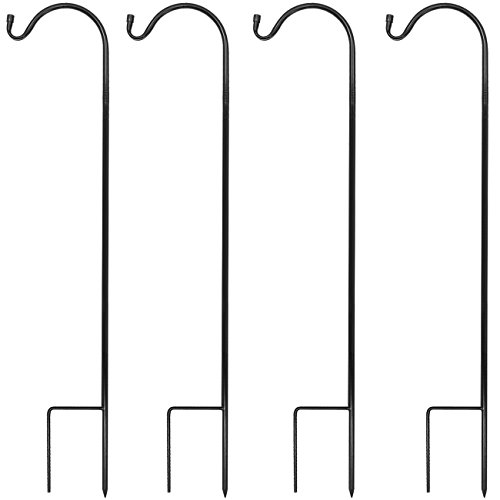 Hooks - Set of 4 Extendable Garden Planter Stakes for Bird Feeders, Outdoor Décor, Plants, Lights, Lanterns, Flower Baskets, and More! Heavy Duty (4 Pack) ()