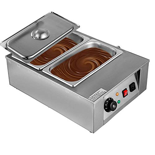 BestEquip 17.6LB Capacity Chocolate Tempering Machine 1000W Double Pots Melting Chocolate Machine with Digital Control Commercial Chocolate Melting Pot for Chocolate Melting (Mechanical 2 Tanks 17.6lb Capacity)