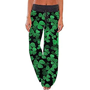WFTBDREAM Women's Floral Printed High Waist Drawstring Wide Leg Palazzo Lounge Pants