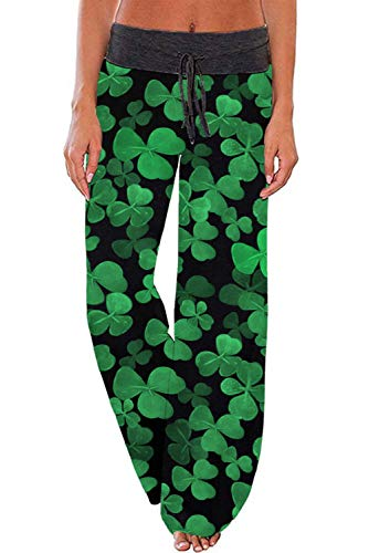 WFTBDREAM Shamrock Pajama Pants Women St. Patrick's Day Clothing L -