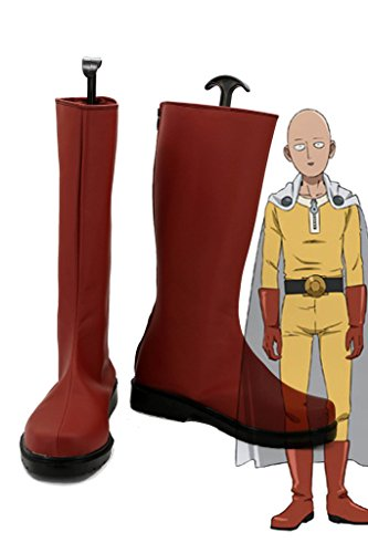 One Punch Man Anime Caped Baldy Saitama Cosplay Shoes Red Boots Custom Made