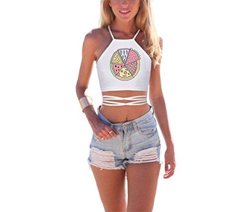 Womens Crop Top 3D Print Criss Cross Lace up Back Halter Top Cami Vest Cute Pink ()