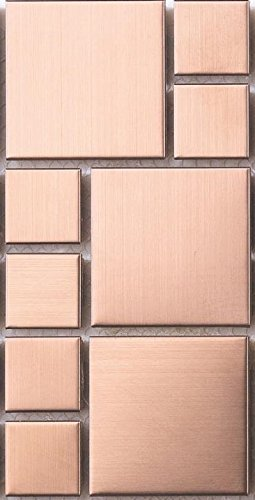 Sample of Brushed Copper Effect Stainless Steel Mosaic Tiles (MT0174) Grand Taps