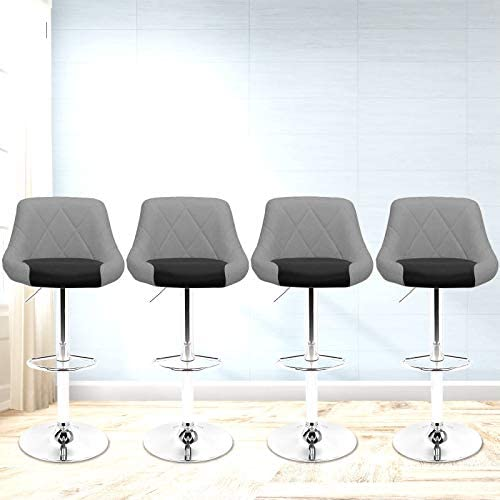 Magshion Faux Leather Bar Stools Adjustable 360 Degree Swivel Backrest Footrest Barstool Set of 4 Mixed Gray