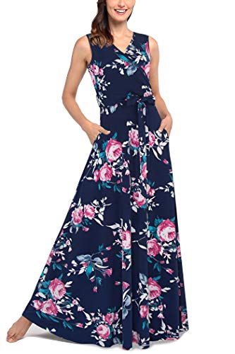 Comila Women's Summer V Neck Floral Maxi Dress Casual Long Dresses with Pockets Women Fashion Printed Sleeveless A Line Coctail Christmas Dress Navy Pink XL US(16/18)