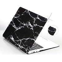 Mcstorey Macbook A1534 12 Inç Kılıf Sert Shell Kapak Koruma Marble Hard Case Rubberized Mermer Görünüm Siyah Gri