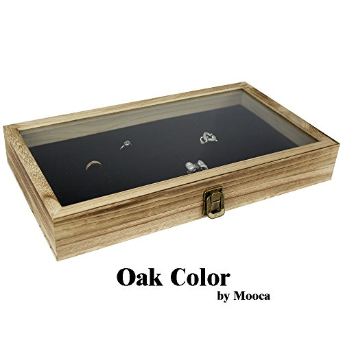 Mooca TEMPERED GLASS Top Wood Jewelry Display Case 72 Slot Compartment Ring Tray, Oak Color (Top Ring Glass Box)