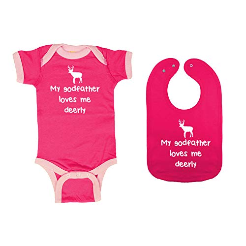 Mashed Clothing - My Godfather Loves Me Deerly - Baby Ringer Bodysuit & Premium Bib Gift Set (Hot Pink/Pink Ringer, Hot Pink Bib, Newborn) ()