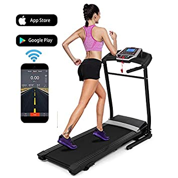 Flyerstoy Folding Electric Fitness Jogging Treadmill with Smartphone APP Control Incline Motorized Power Running Machine