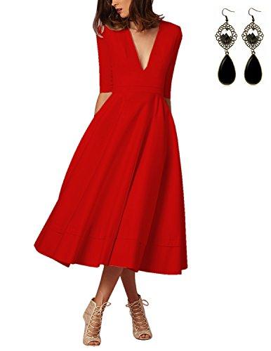 Sitengle Elegant Women Deep V Neck Long Evening Cocktail Dress Formal Banquet Wedding Bridesmaid Party Dresses Gown Plus Size,Red (No (Elegant Red Dress)