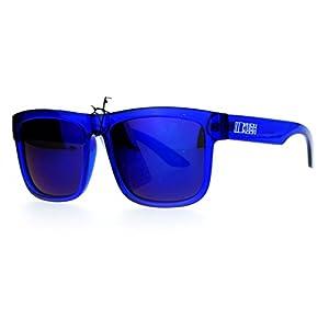 Kush Mens Neon Pop Horn Rim Sport horned Sunglasses Blue