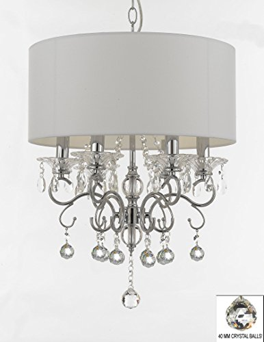 Silver Mist Crystal Drum Shade Chandelier Lighting with Faceted Crystal (Faceted Drum)