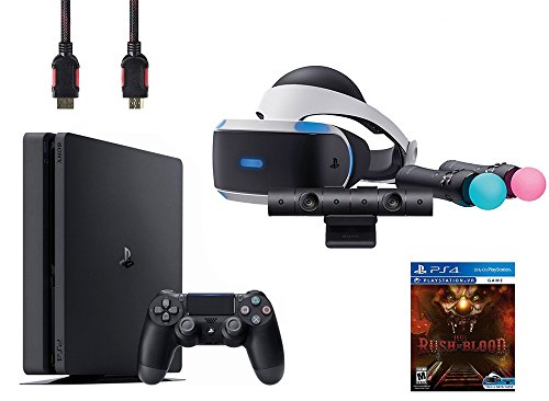 PlayStation VR Start Bundle 5 Items: VR Start Bundle,Sony PS4 Slim 1TB Console - Jet Black,VR game disc PSVR Until Dawn: Rush of Blood by Sony VR