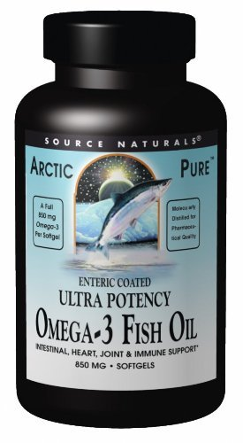 Source Naturals ArcticPure Omega-3 Fish Oil 850mg Ultra Potency EPA + DHA For Heart, Joint, Brain & Immune Health -Enteric Coated For Sensitive Stomachs - 60 Softgels