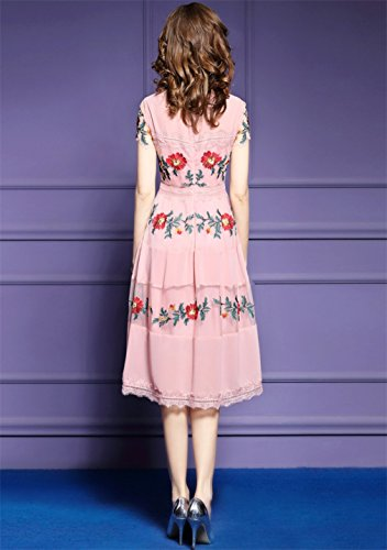 cotyledon Mesh Line Women`S Sleeve A Short Dresses Dress Embroidery Pink Casual rBB8qE