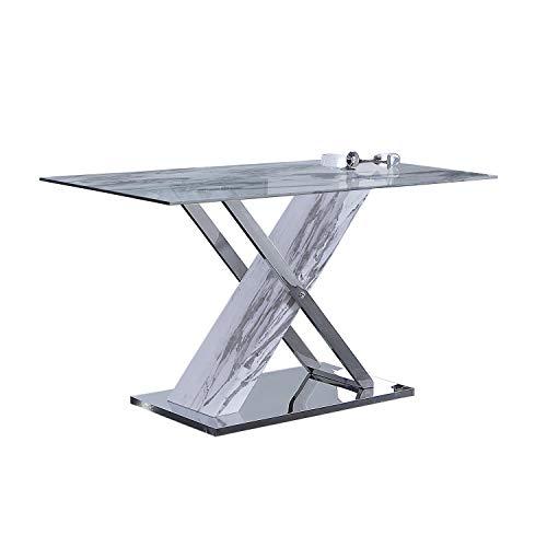 ADEC - Mint, Mesa de Comedor Fija, Mesa en Simil Marmol Comedor Salon o Cocina, Medidas: 140 cm x (Largo) x 80 cm (Ancho) x 76 cm (Alto)