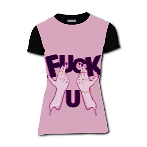 Pink Fuck You Hand Girl Crew Neck T-shirt Sports Tee Top for Woman (Children's Titanic Costumes)