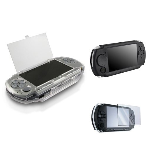 SODIAL(R) Hard Crystal Case + (Black) Soft Silicone Skin Case Compatible with Sony PSP 2000 3000 With LCD Screen Protector Psp Crystal