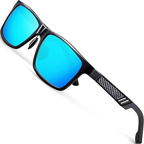 ATTCL Men's Hot Retro Driving Polarized Wayfarer Sunglasses Al-Mg Metal Frame Ultra Light (Black/Blue, - Driving Sunglass For