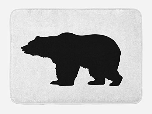 Lunarable Nature Bath Mat, Grizzly Alaskan Bear Animal Wildlife Forest Mountain Canadian Artwork Image, Plush Bathroom Decor Mat with Non Slip Backing, 29.5