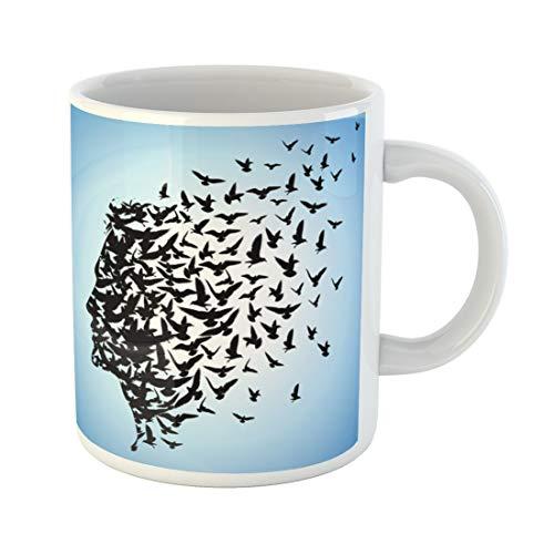 Semtomn Funny Coffee Mug Freedom Flying Birds to Human Head Brain Flock Face 11 Oz Ceramic Coffee Mugs Tea Cup Best Gift Or Souvenir (Ceramic Brain Bird)