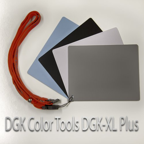 DGK Color Tools DGK-XL Plus Extra Large Size 4 Card White Balance 18% Gray Warm Card with Carry Lanyard