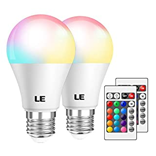LE RGB Color Changing Light Bulbs with Remote, Dimmable LED Light Bulb, E26 Screw Base, 40 Watt Equivalent Soft Warm White, 16 Color Choices for Home Decor, Bedroom, Stage, Party and More, Pack of 2