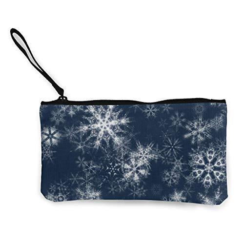 Wristlet Clutch Wallet Creative Snowflake Pattern Canvas Coin Purse Handbag