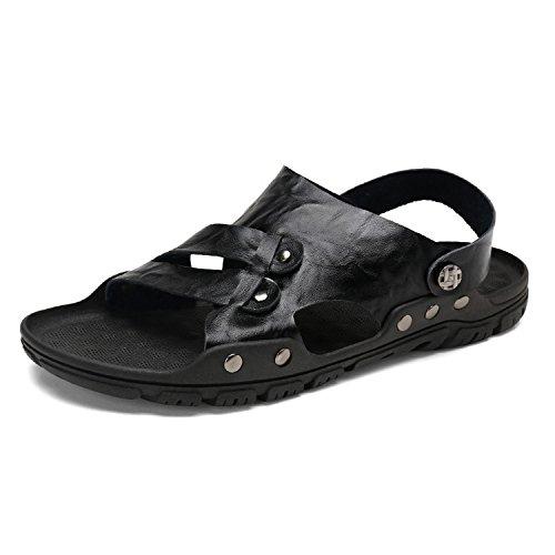 Genuino Toe Cowhide Hombre Open Slip Auspiciousi Layer Para Cuero Top De Casual Function Black 2 Sandalias Price 1 Uqxx8w6t
