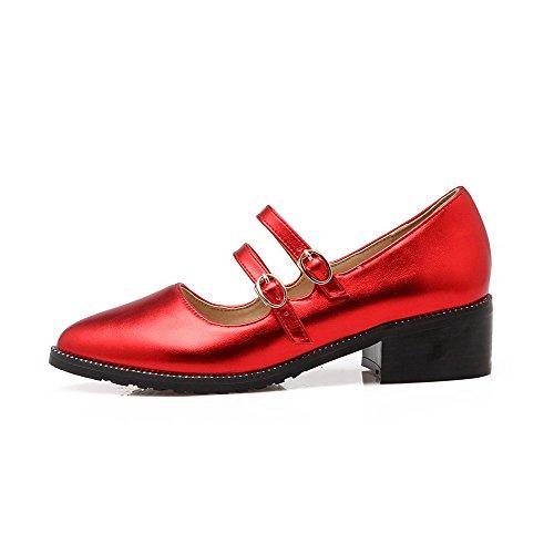 VogueZone009 Damen Mittler Absatz Rein Schnalle Blend-Materialien Spitz Zehe Pumps Schuhe Rot