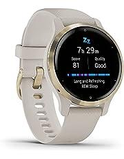 Garmin Venu 2S Smartwatch, Light Gold/Sand, hartslagmeting, slaapscore, stresstracking