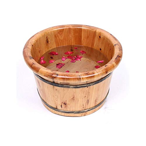 Wood Washstand - ZYPDD Solid Wood Floor Washstand High Wash Basin Standing Bath Bath to Relieve Fatigue Can Be Used Together with Bath Salt and Essential Oil