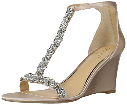 Badgley Mischka Jewel Women's Meryl Wedge Sandal, Champagne