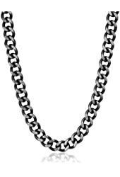 """Men's Stainless Steel Antiqued Finished Curb Chain Necklace, 24"""""""