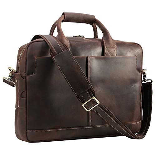 Texbo Genuine Full Grain Leather Men's 16 Inch Laptop Briefcase Messenger Bag Tote