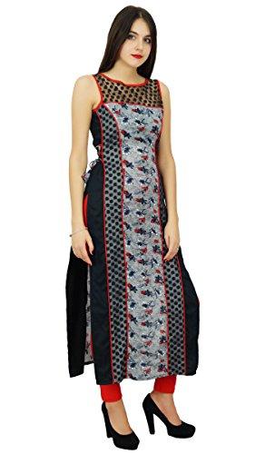 Black Women Indian Kurti Ladies Designer Long Straight Ethnic Kurta Dress Bimba Clothing PZf6x