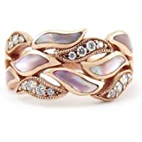 Rose Gold leaves 925 Silver Women Jewelry Wedding Engagement Ring Gift Sz 6-10 (7)
