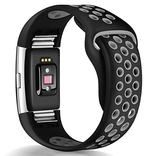 HUMENN Bands Compatible for Fitbit Charge 2, Replacement Accessory Sport Band Compatible for Fitbit Charge 2 HR (#,Black/Gray, Large) (Best Fitbit Charge 2 Bands)