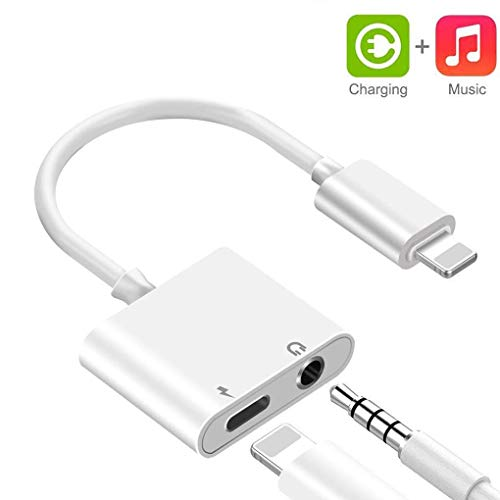 (KETURITON Adapter 2 in 1 Headphone Jack Adaptor Audio Earphone Jack Splitter Charger Cable Compatible Accessories)