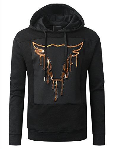 URBANCREWS Mens Hipster Hip Hop Bull Embossed Fleece Pullover Hoodie Black, S