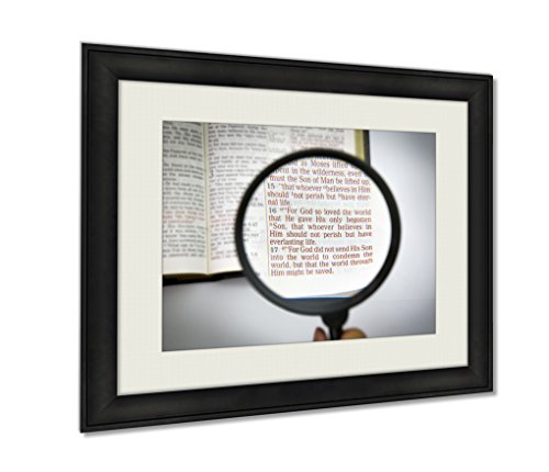 Ashley Framed Prints, Open Bible And Verses, Wall Art Decor Giclee Photo Print In Black Wood Frame, Ready to hang, 24x30 Art, AG6605362