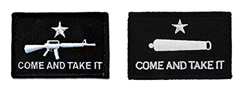 (Antrix 2 Pack M16&Cannon Tactical Come and Take It Patches Hook & Loop Texas Gonzales Revolution Flag Military Morale Badge Patches)