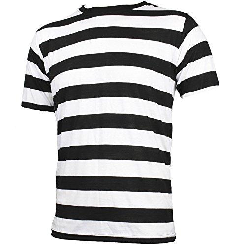 Largemouth Adult Men's Short Sleeve Striped Shirt Black White (XX-Large)]()
