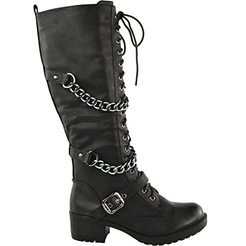 Knee Up Boots Size Leather Combat Biker Lace Mid Shoes Black Womens High Calf Military Thirsty Punk Faux Fashion U6T07E6