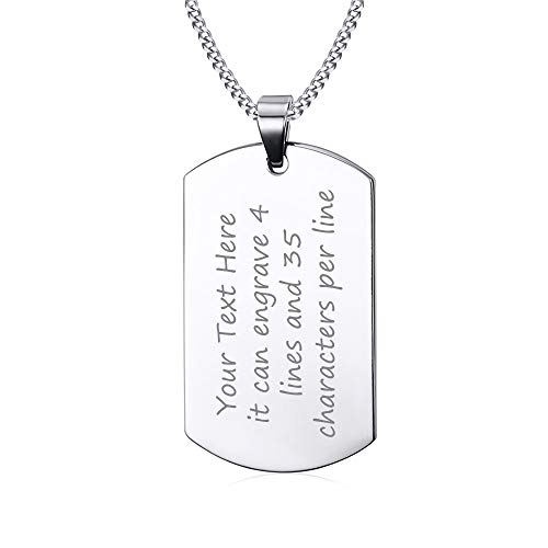 VNOX (Free Engraving Stainless Steel Plain Dog Tag Pendant Necklace with 24
